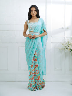 AQUA EMBROIDERED BLOUSE WITH SOLID/ PRINTED SAREE