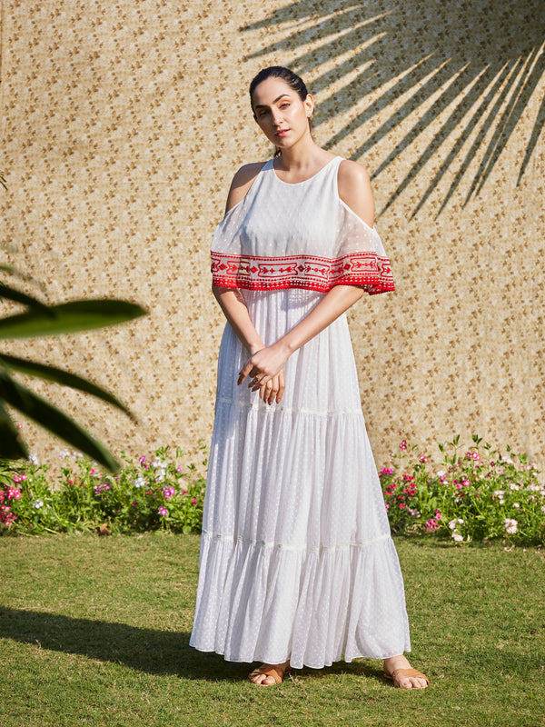 Ivory Draped Maxi Dress With Red Dori Embroidery