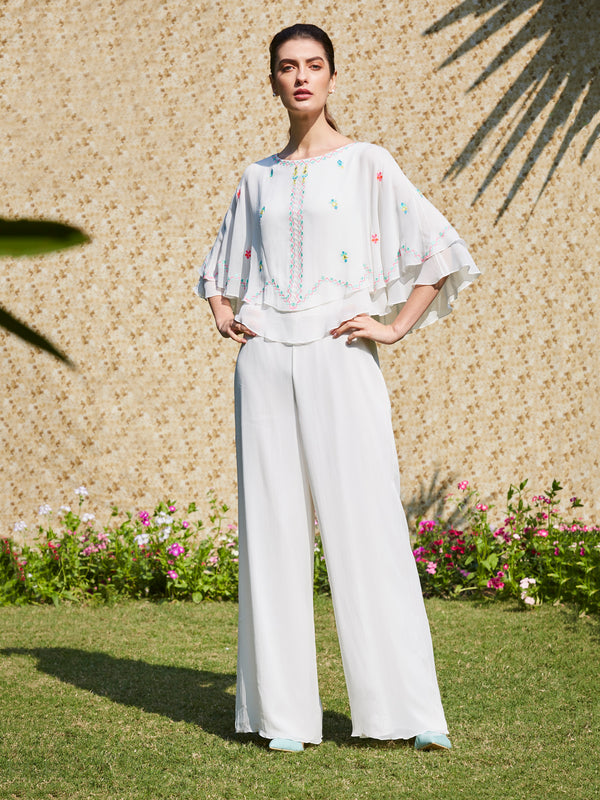 Ivory Double Layer Cape Jumpsuit With Multi Colored Embroidery