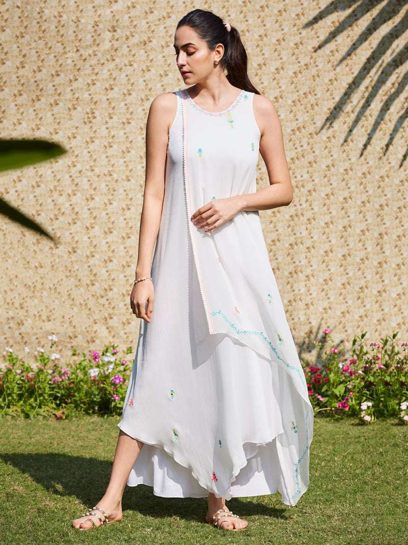 Ivory Layered Dress With Multi Colored Embroidery