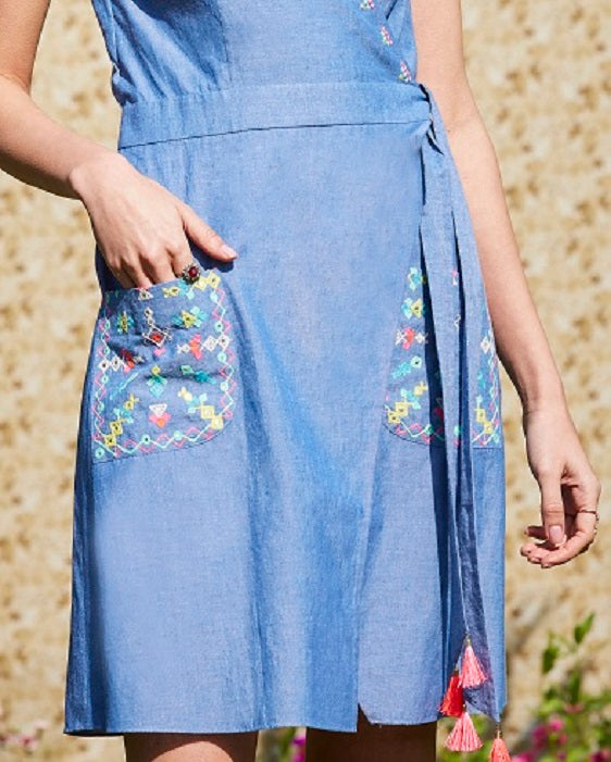 Steel Blue Short Tunic Dress With Embroidered Pockets