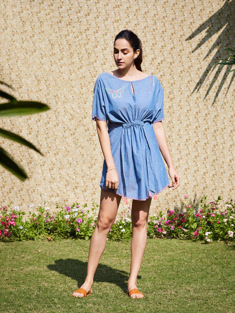 Steel Blue Short Tunic Dress With Embroidery Detail