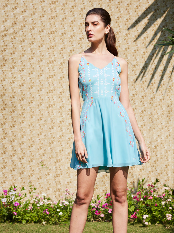 Soft Aqua Printed Cami Dress With Mirror Embroidery