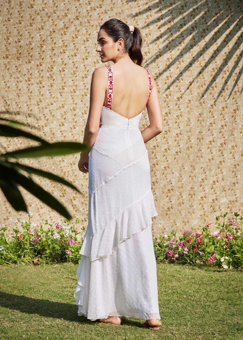 Ivory Ruffled Maxi Dress