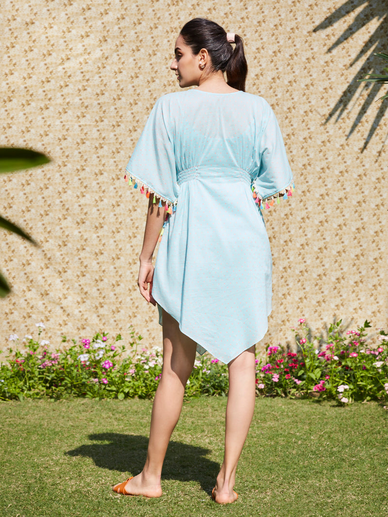 Soft Aqua Tunic Dress With Tassel Lace Detail