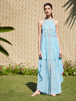 Soft Aqua Printed Halter Dress With Mirror Embroidery