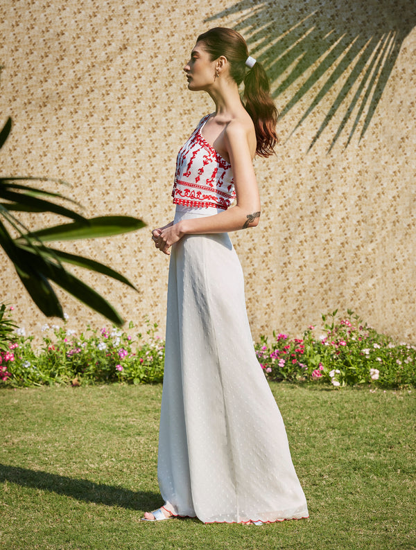 Ivory Draped Jumpsuit With Red Dori Embroidery