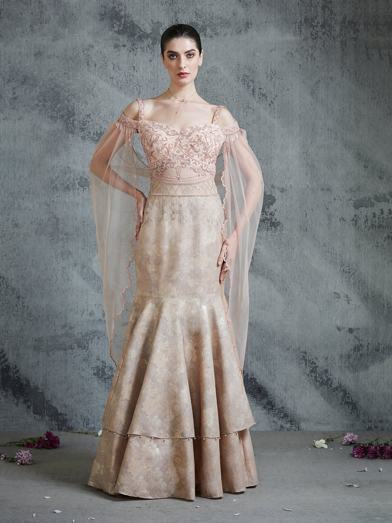 PEACH S DOUBLE LAYER FULLY EMBROIDERED GOWN WITH INTRICATE EMBROIDERY