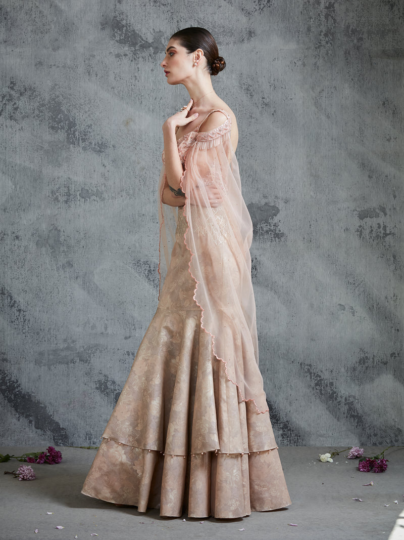 PEACH S DOUBLE LAYER FULLY EMBROIDERED GOWN WITH INTRICATE EMBROIDERY.