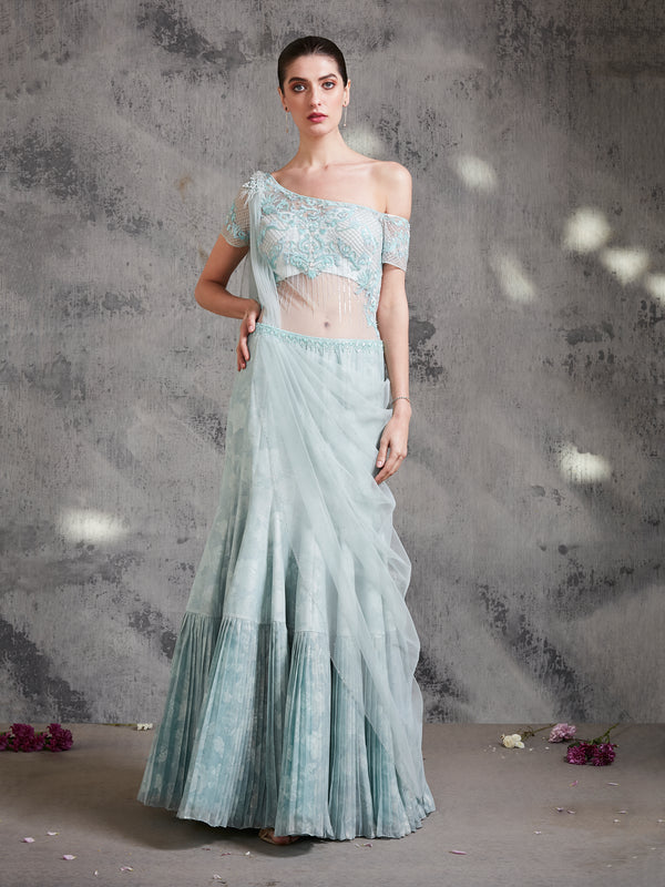 AQUA BLUE ONE SIDED SHOULDER DRAPE SAREE EHANCED WITH INTRICATE EMBROIDERY AND PLEATS