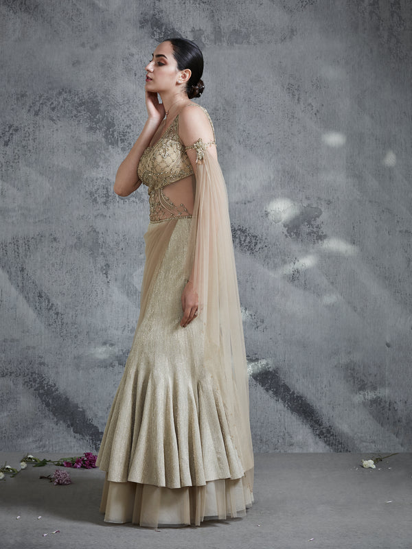 GOLD SHIMMER ONE SIDED SHOULDER AND DRAPE ENHANCED WITH INTRICATE EMBROIDERY