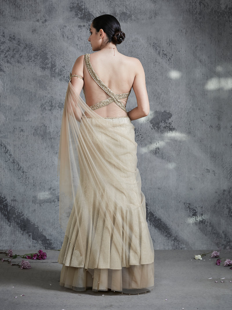 Gold Drape Saree
