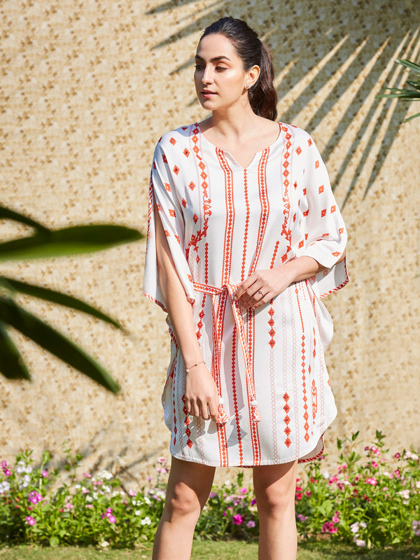 Ivory And Red Printed Kaftan With Mirror Embroidery