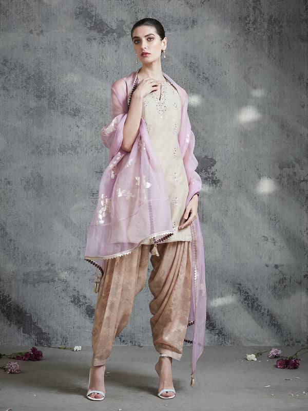 Shimmer Gold Embroidered Kurta Set With Printed Patiala Salwar.