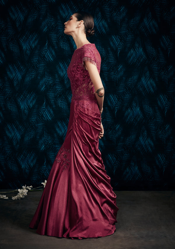 WINE DRAPE GOWN ENHANCED WITH INTRICATE EMBROIDERY