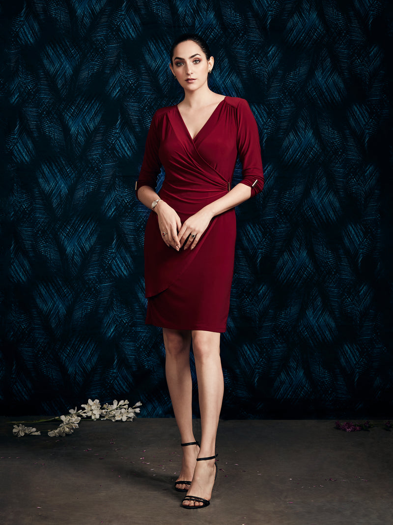 MAROON DRAPE DRESS
