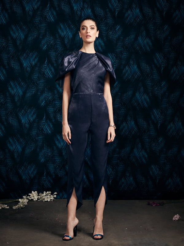 NAVY BLUE DRAPE JUMPSUIT.