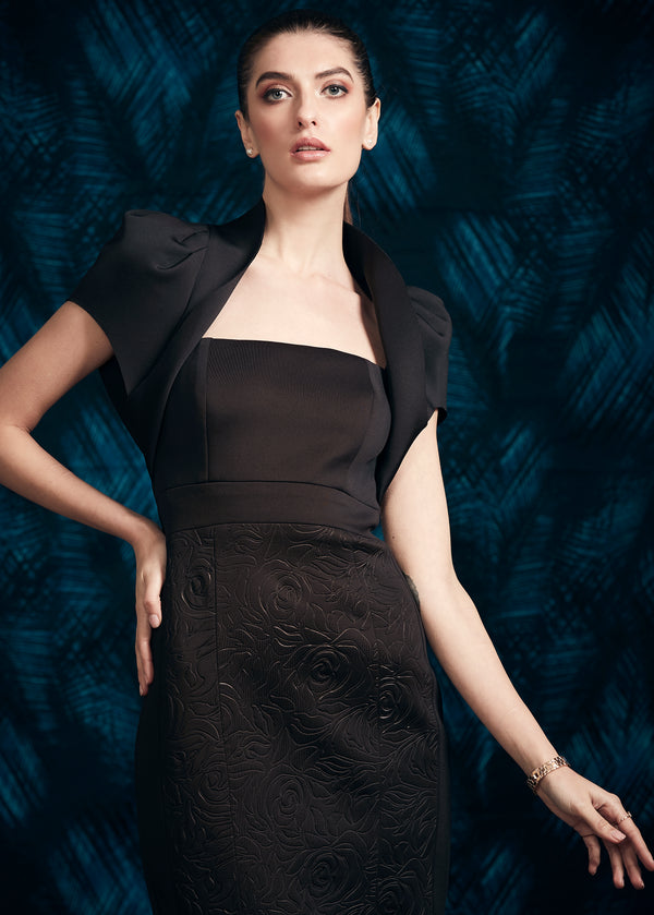 BLACK CALF LENGTH JERSEY DRESS