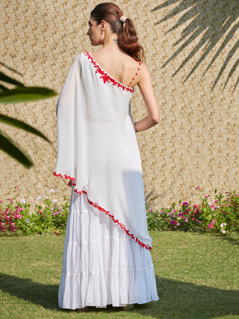Ivory One Shoulder Diffused Pret Kurta Set With Red Dori Embroidery And Tiered Sharara