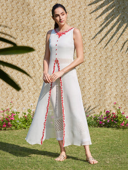 Ivory Diffused Pret Kurta Set With Red Dori Embroidery And Cropped Pants