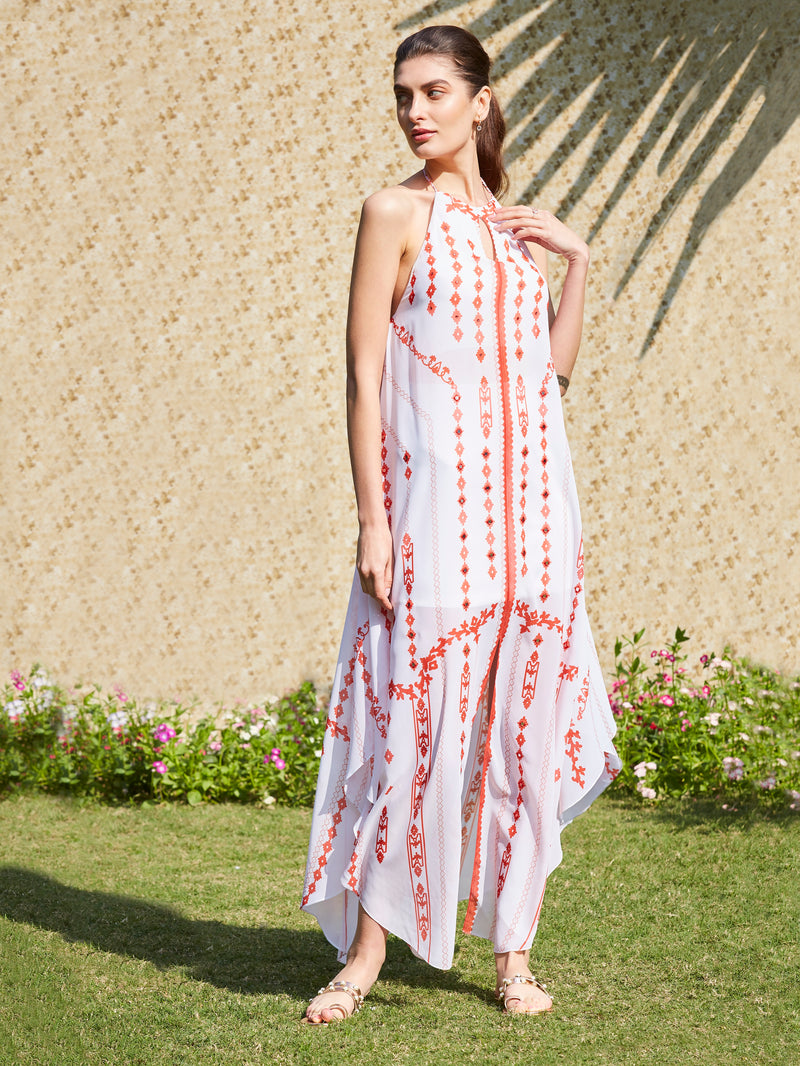 Ivory And Red Printed  Dress