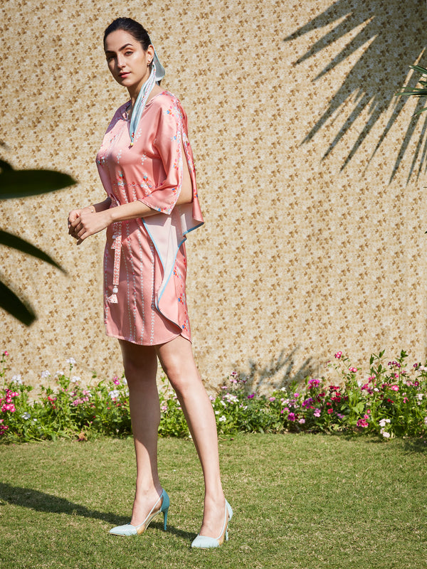 Soft Peach Printed Kaftan With Mirror Embroidery