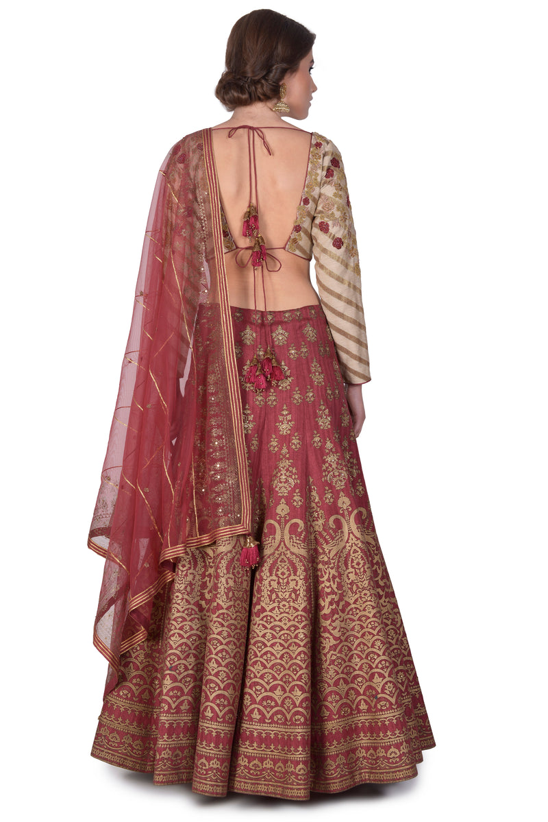 Foil printed embroidered lehenga with embroidered blouse and embroidered dupatta