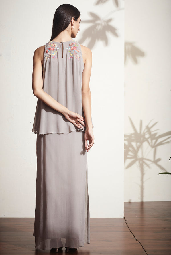 Layered contrast side vented, exquisitely embroidered dress
