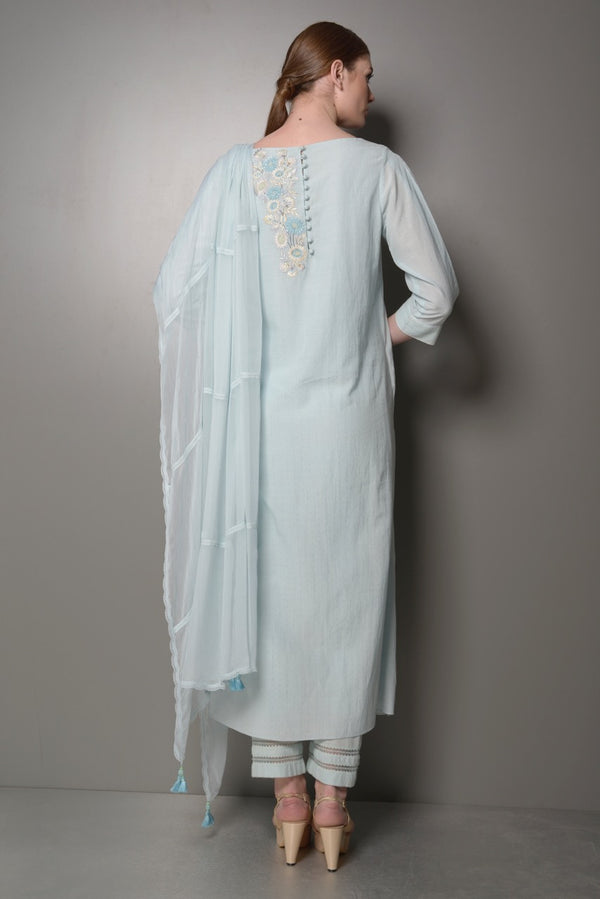 KURTA FRONT OPENPING AND PANTS HEM WITH LACE AND DUPATA WITH LACE MERCN