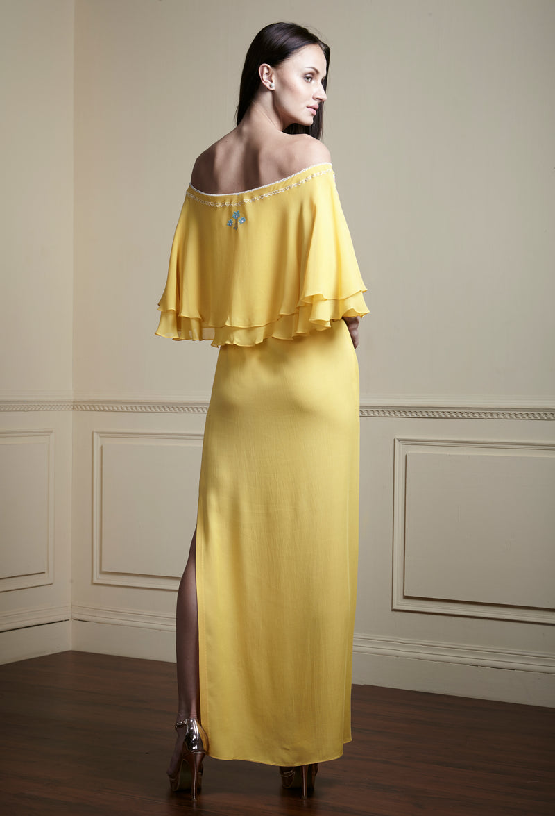 Yellow, Contrast, side vented embellished glamorous long layered dress.