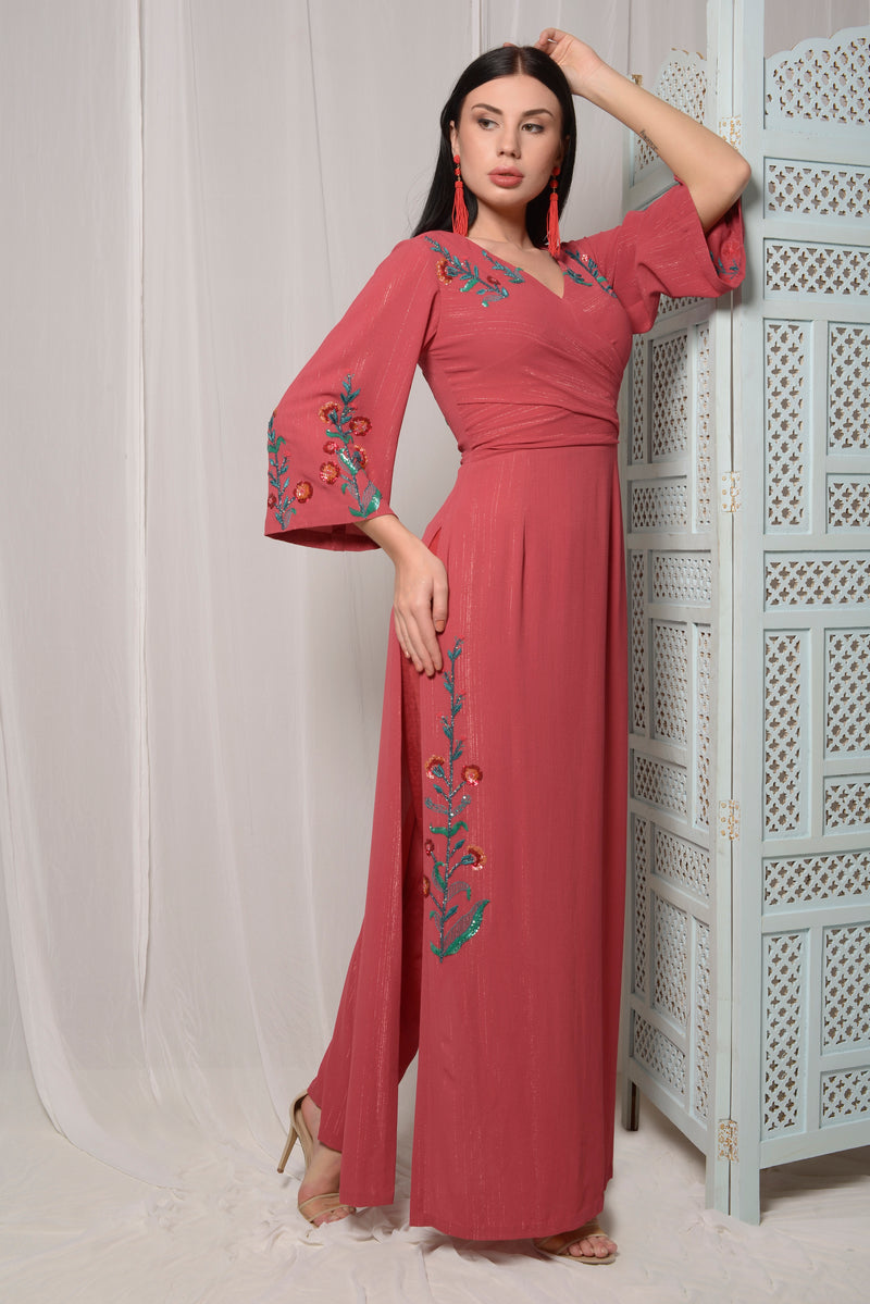 CHERRY PINK FUSION KURTA WITH PANTS