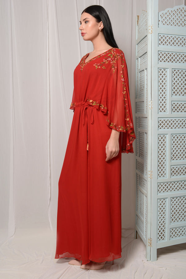 EMBROIDERED CAPE KAFTAN WITH FRONT DRAWSTRING