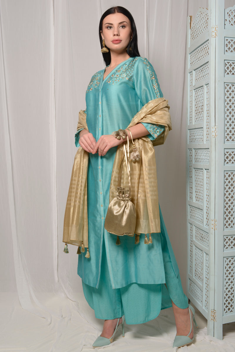 EMBROIDERED KURTA SET WITH SIDE SLIT PANTS AND DUPPATTA
