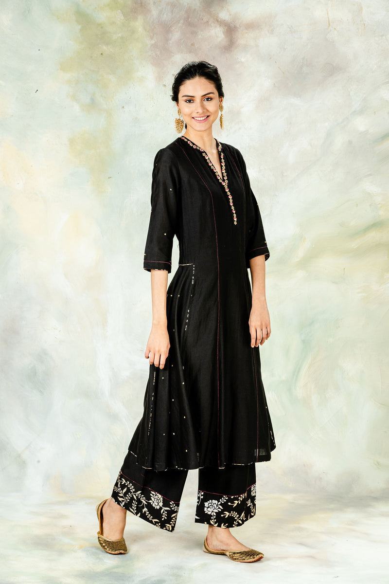 Black Embellished Kurta