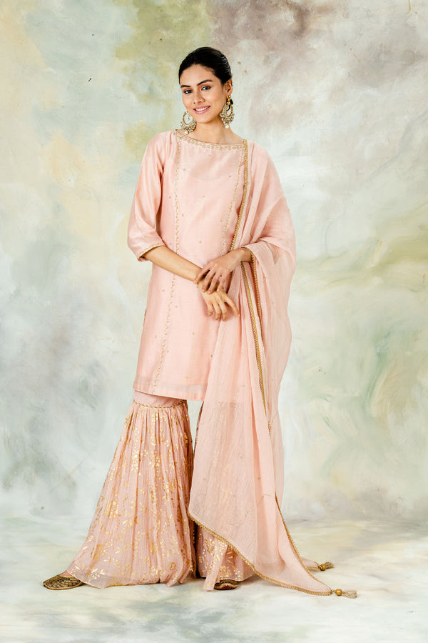 Peach Sequins Dupatta