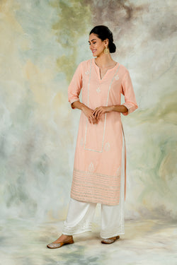 Peach Embellished Kurta