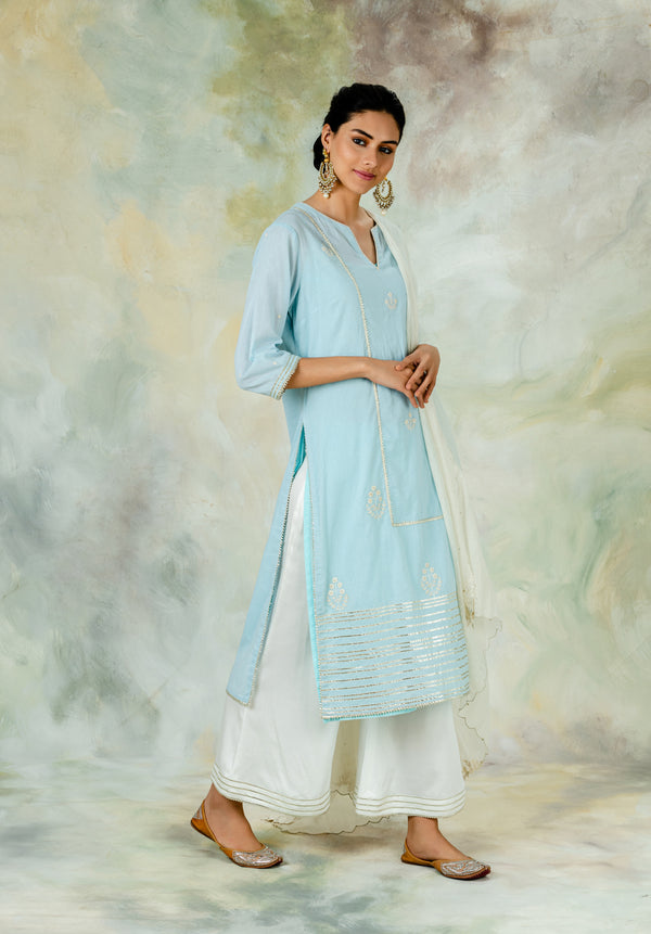 Ice Blue Embellished Kurta