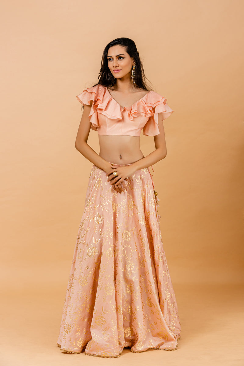 Peach Foil printed Lehenga Set