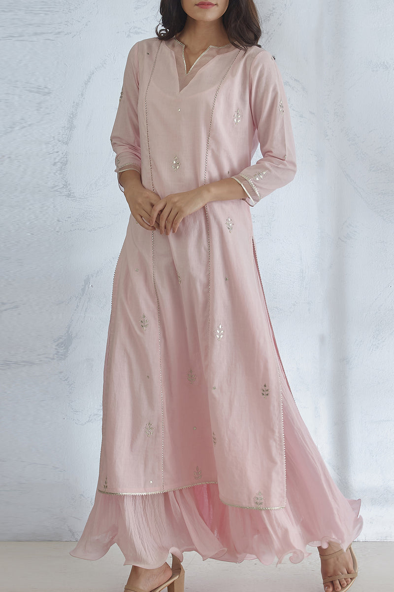 Icy Pink Kurta With Dress