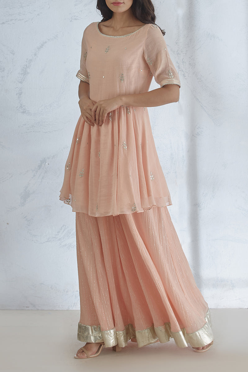 Peach Hand Embroidered Kurta