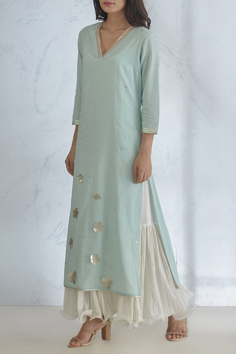 Aqua Kurta With Dress