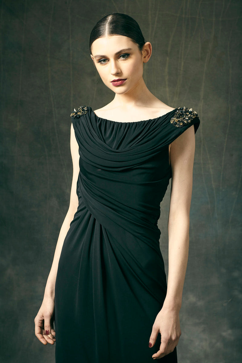 Black Jersey Embroidered Maxi Dress