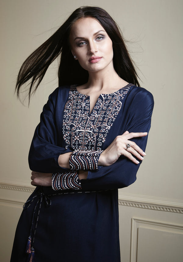 Navy blue, Contrast embellishment with neck yoke shaped crepe tunic.