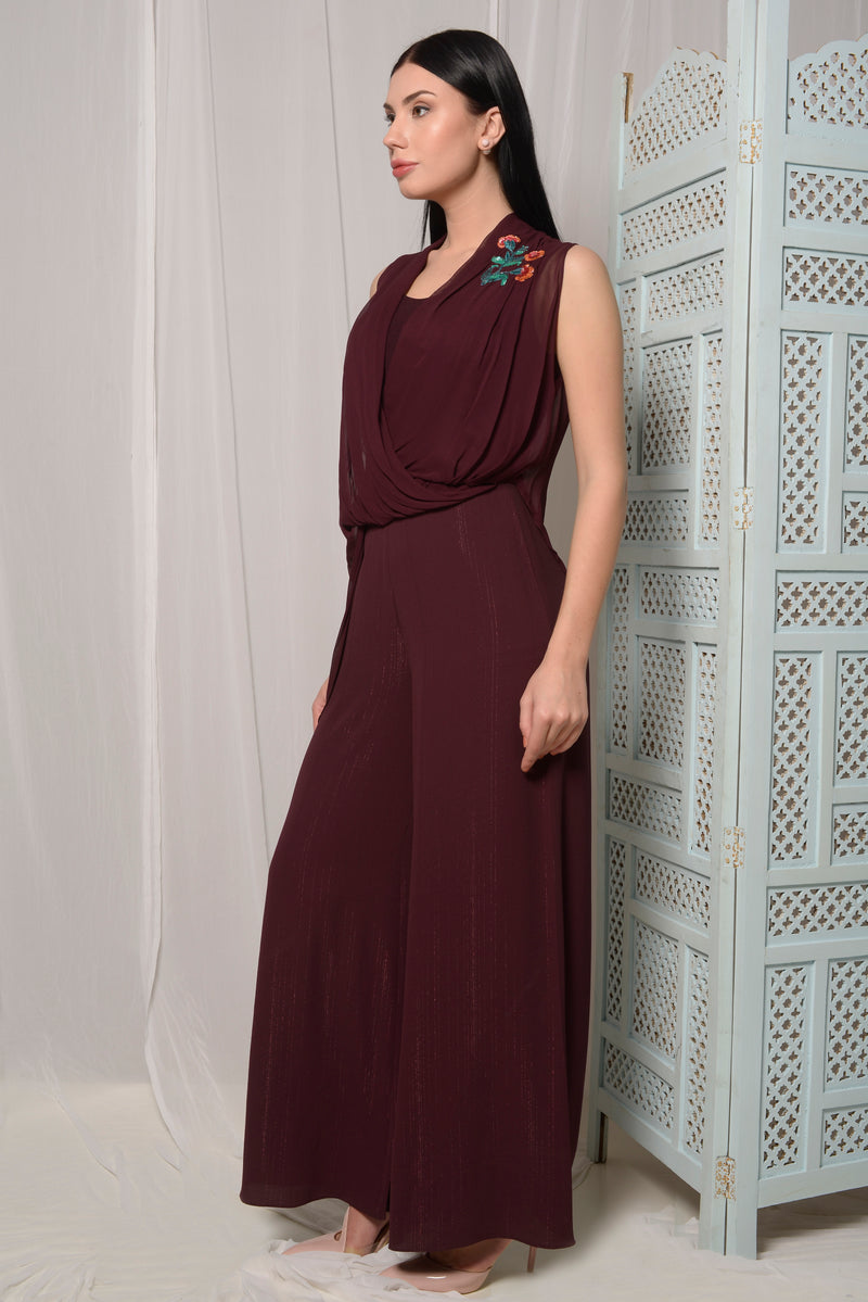 WINE DRAPE JUMPSUIT