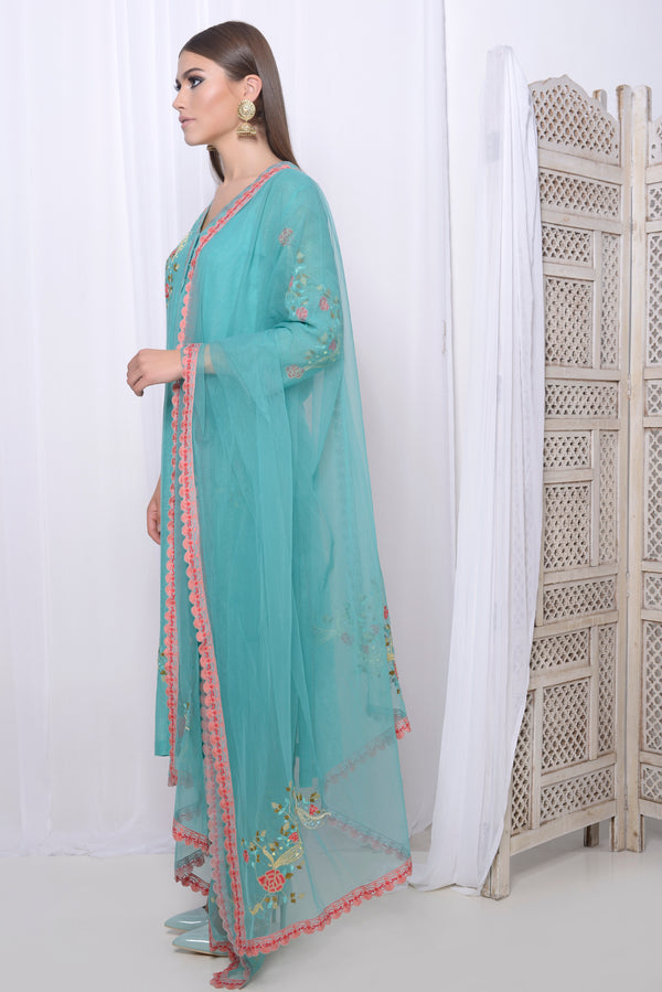 Embroidered straight kurta with embroidered pants and dupatta