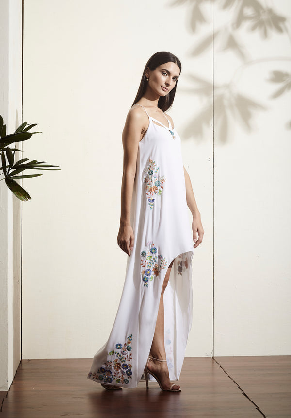 White, high-low hand-embellished glamorous dress.