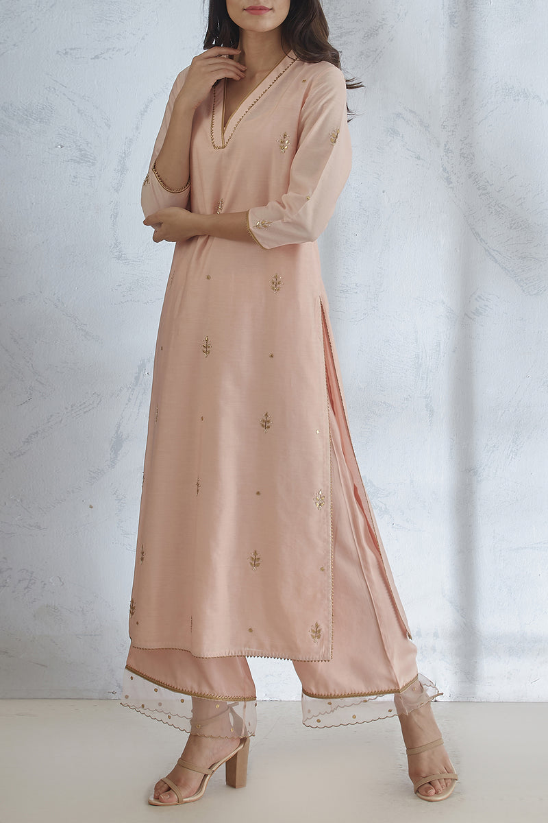 Peach Gota Embroidered Kurta