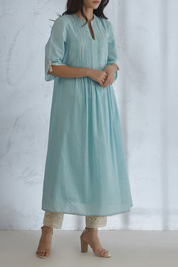 Blue Pin Tuck Kurta With Lace Pants