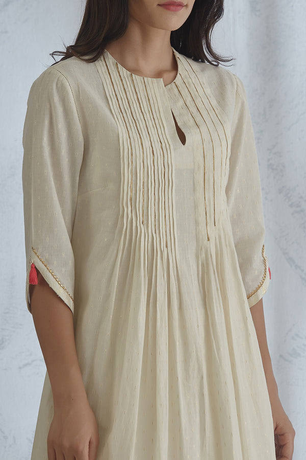 Ivory Pin Tuck Kurta With Sharara