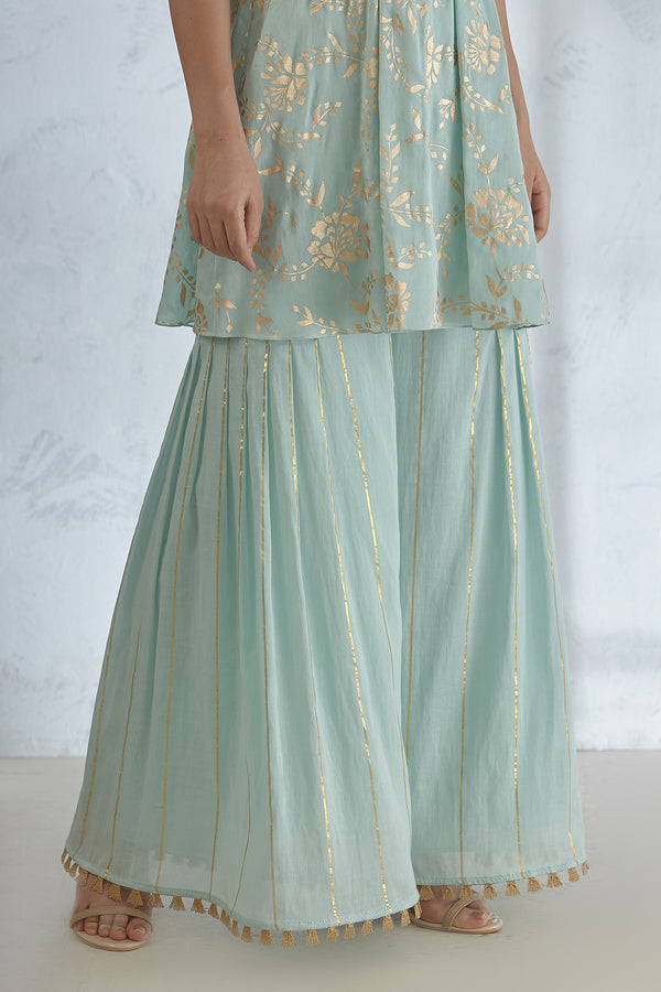 Aqua Pleated Sharara